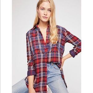 Free People Magical Plaid embroidered shirt Medium
